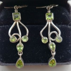 Gorgeous Peridot and sterling silver drop earrings